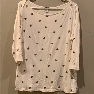 Cream top with gold sequin